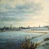 Wintergezicht op IJsselstein vanaf Nedereindse plas o o l 70x70cm 1999