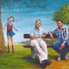 Portret van 2 broers met hun overleden zusje o o l 40x50cmm 2007