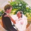 Portret van een bruidspaar o o l 30x30cm 2006